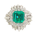 Estate Jewelry:Rings, Colombian Emerald, Diamond, White Gold Ring Th...