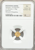 Ancients:Byzantine, Ancients: Michael II the Amorian (AD 820-829) with Theophilus. AV semissis (10mm, 1.90 gm, 6h). NGC AU 5/5 - 4/5....