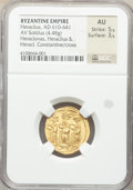 Ancients:Byzantine, Ancients: Heraclius (AD 610-641), with Heraclius Constantine and Heraclonas. AV solidus (20mm, 4.48 gm, 6h). NGC AU 5/5 - 3/5....