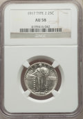 Standing Liberty Quarters, 1917 25C Type Two AU58 NGC. NGC Census: (100/416). PCGS Population: (205/597). CDN: $130 Whsle. Bid for problem-free NGC/PC...