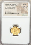 Ancients:Byzantine, Ancients: Justinian I the Great (AD 527-565). AV tremissis (17mm, 1.49 gm, 6h). NGC MS★ 5/5 - 4/5....