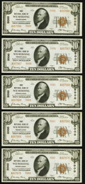 National Bank Notes:Pennsylvania, Wilmerding, PA - $10 1929 Ty. 2 First NB Ch. # 5000 Five Consecutive Examples Choice Crisp Uncirculated.. ... (Total: 5 notes)