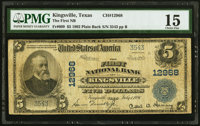 Kingsville, TX - $5 1902 Plain Back Fr. 609 The First NB Ch. # 12968 PMG Choice Fine 15