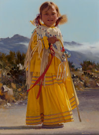 Don V. Crowley (American, 1926-2019) Apache Child in Yellow Dress Oil on Masonite 12 x 9 inches (