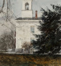 Works on Paper, Thomas William Jones (American, b. 1942). Sunday's Bells, 1982. Watercolor on paper. 19-3/4 x 18 inches (50.2 x 45.7 cm)...