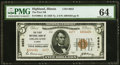 National Bank Notes:Illinois, Highland, IL - $5 1929 Ty. 2 The First NB Ch. # 6653 PMG Choice Uncirculated 64.. ...