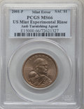 Errors, 2001-P SAC$1 Sacagawea Dollar -- US Mint Experimental Rinse, Anti-Tarnishing Agent -- MS66 PCGS....
