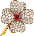 Estate Jewelry:Brooches - Pins, Ruby, Diamond, Gold Brooch, Van Cleef & Arpels, French . ...