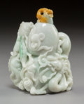 Carvings:Chinese, A Chinese Jadeite Carved Double Gourd-Form Snuff Bottle. 4-1/2 x 4 x 2-1/2 inches (11.4 x 10.2 x 6.4 cm). ...