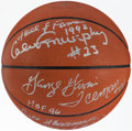 Basketball Collectibles:Balls, Hall of Fame Multi-Signed Basketball with Arizin, Barry, Gervin, Murphy, & Sharman (5 Signatures)....