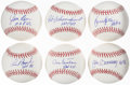 Autographs:Baseballs, Hall of Fame Single Signed Baseball Lot of 6....