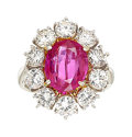 Estate Jewelry:Rings, Burma Ruby, Diamond, Platinum Ring. ...