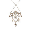 Estate Jewelry:Necklaces, Antique Diamond, Silver-Topped Gold, Platinum Necklace. ...