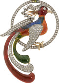 Estate Jewelry:Brooches - Pins, Diamond, Enamel, Gold Brooch . ...