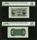 Fractional Currency:Third Issue, Fr. 1272SP 15¢ Third Issue Wide Margin Pair PMG Choice About Unc 58.. ... (Total: 2 notes)