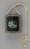 Carvings, A Japanese Lacquered Wood and Mother-of-Pearl Inlay Inro. 2-7/8 x 2-1/2 x 1 inches (7.3 x 6.4 x 2.5 cm). ...