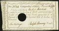 Colonial Notes:Connecticut, Connecticut Interest Certificate 10 Shillings Extremely Fine, HolePunch Cancelled.. ...