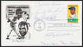 Autographs:Post Cards, 1982 Honoring Jackie Robinson Multi-Signed First Day Cover (5 Signatures). ...