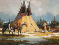 Works on Paper, Sherry L. Gribben (American, 20th Century). Winter Teepee, 1980. Gouache on board. 14-1/2 x 19-1/4 inches (36.8 x 48.9 c...