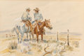 Works on Paper, Joe Beeler (American, 1931-2006). Two Cowboys Riding the Fence. Watercolor on paper. 13 x 19-1/4 inches (33.0 x 48.9 cm)...