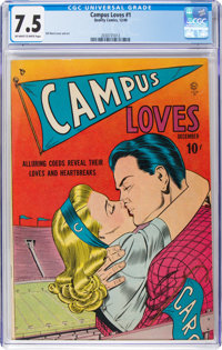 Campus Loves #1 (Quality, 1949) CGC VF- 7.5 Off-white to white pages