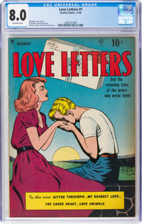 Love Letters #1 (Quality, 1949) CGC VF 8.0 Off-white pages