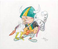 Virgil Ross - Bugs Bunny and Elmer Fudd Drawing (Warner Brothers, c. 1990s)