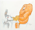 Animation Art:Production Drawing, Virgil Ross - Bugs Bunny and Gossamer Drawing (Warner Brothers, c. 1990s). ...