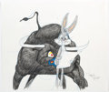 Animation Art:Production Drawing, Virgil Ross - Bugs Bunny and Bull Drawing (Warner Brothers, c. 1990s). ...