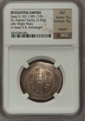 Ancients:Byzantine, Ancients: Isaac II Angelus, first reign (AD 1185-1195). EL aspron trachy (28mm, 3.50 gm, 6h). NGC AU 4/5 - 4/5, clipped....