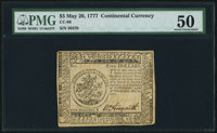 Continental Currency May 20, 1777 $5 PMG About Uncirculated 50
