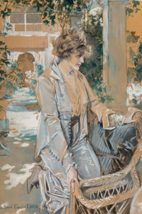 Howard Chandler Christy (American, 1872-1952) In the Courtyard, 1916 Gouache on paper 38.25 x 25