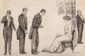 Fine Art - Work on Paper, James Montgomery Flagg (American, 1877-1960). The Suitors. Ink on paper. 23-1/2 x 35-3/4 inches (59.7 x 90.8 cm) (sight)...