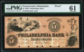 Obsoletes By State:Pennsylvania, Philadelphia, PA- Philadelphia Bank $5 18__ as G132a as Hoober 305-480 PMG Uncirculated 61.. ...