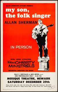 "Allan Sherman at the Mosque Theatre & Other Lot (1962). Very Fine-. Concert Window Cards (2) (14"" X 22.25&q..."