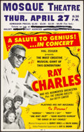 """Movie Posters:Musical, Ray Charles at the Mosque Theatre (Hal Zeiger, 1961). Very Fine-. Concert Window Card (14"""" X 22""""). Musical.. ..."""