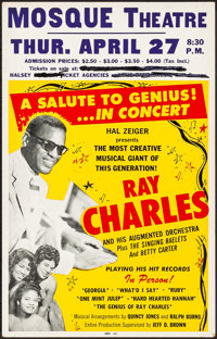 "Ray Charles at the Mosque Theatre (Hal Zeiger, 1961). Very Fine-. Concert Window Card (14"" X 22""). Musical..."