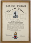 Football Collectibles:Others, 1951 Howard Jones National Football Hall of Fame Induction Certificate....