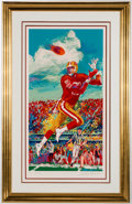 Autographs:Others, 1995 Jerry Rice & Leroy Neiman Signed Serigraph Display. ...