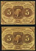 Fractional Currency:First Issue, Fr. 1229 5¢ First Issue Fine;. Fr. 1231 5¢ First Issue XF-AboutNew. . ... (Total: 2 notes)