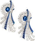 Estate Jewelry:Brooches - Pins, Sapphire, Diamond, Platinum Clip-Brooches, Raymond Yard. ...