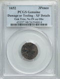 Colonials, 1652 3PENCE Oak Tree Threepence, No IN on Obverse -- Damage or Tooling -- PCGS Genuine. XF Details. Noe-27, W-300, Salmon 5-A...