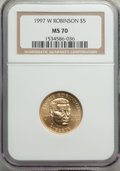 Modern Issues, 1997-W $5 Jackie Robinson Gold Five Dollar MS70 NGC....