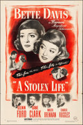 "Movie Posters:Drama, A Stolen Life (Warner Brothers, 1946). Folded, Fine/Very Fine. One Sheet (27"" X 41""). Drama.. ..."