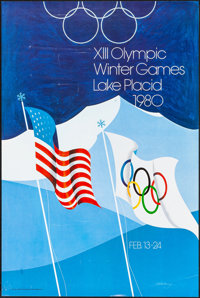 """XIII Olympic Winter Games at Lake Placid (1977). Rolled, Fine/Very Fine. Olympics Poster (22"""" X 33"""") Robert Wh..."""