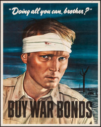 "World War II Propaganda (U.S. Government Printing Office, 1943). Folded, Very Fine-. War Bonds Poster (30"" X 40&quo..."