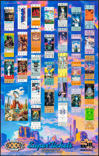 """Super Bowl XXX - Super Tickets (Action Images, 1995). Rolled, Very Fine. Super Bowl Poster (23"""" X 36.25"""") Sand..."""