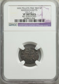 Colonials, 1652 6PENCE Pine Tree Sixpence, Pellets at Trunk -- Reverse Scratched -- NGC Details. VF. Noe-33, W-670, Salmon 2-B, R.3....