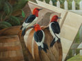 Works on Paper, John A. Ruthven (American, b. 1924). Redheaded Woodpeckers. Watercolor and gouache on paper. 11-1/2 x 15-1/2 inches (29....