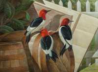 John A. Ruthven (American, b. 1924) Redheaded Woodpeckers Watercolor and gouache on paper 11-1/2
